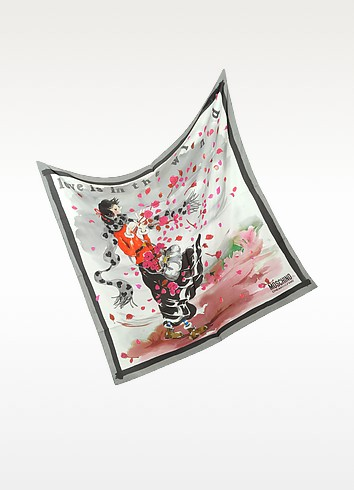 Love is in the Wind Silk Square Scarf - Moschino
