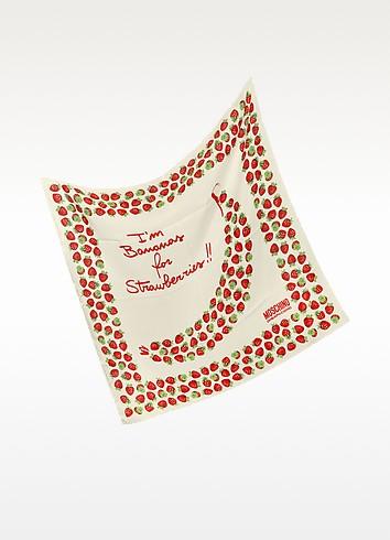 Strawberry Print Silk Square Scarf - Moschino