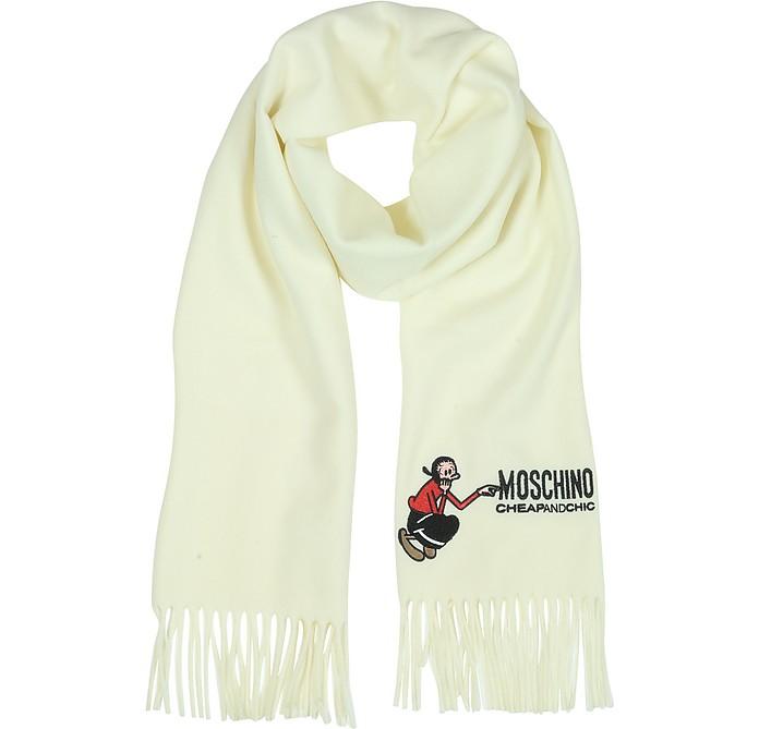 Love Moschino Logo Embroidery Wool Scarf - Moschino