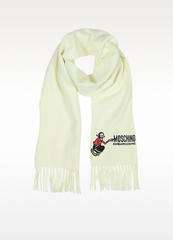 Love Moschino Logo Embroidery Wool Scarf - Moschino