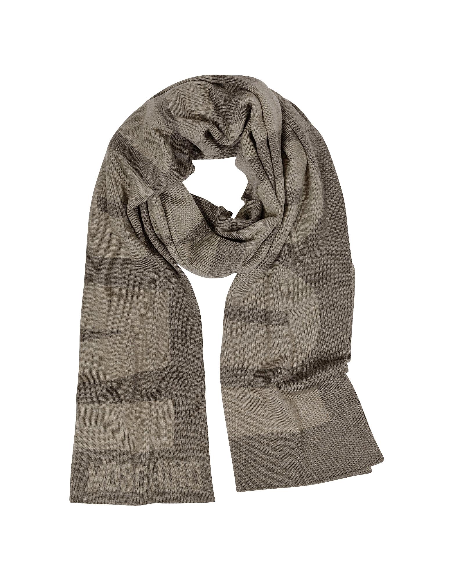Moschino Длинный Коричневый Шерстяной Шарф с Логотипом