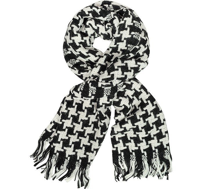 Black and White Oversized Wool Scarf - Moschino