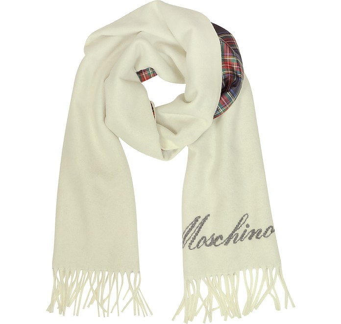 Fringed Wool and Silk Double Face Long Scarf - Moschino