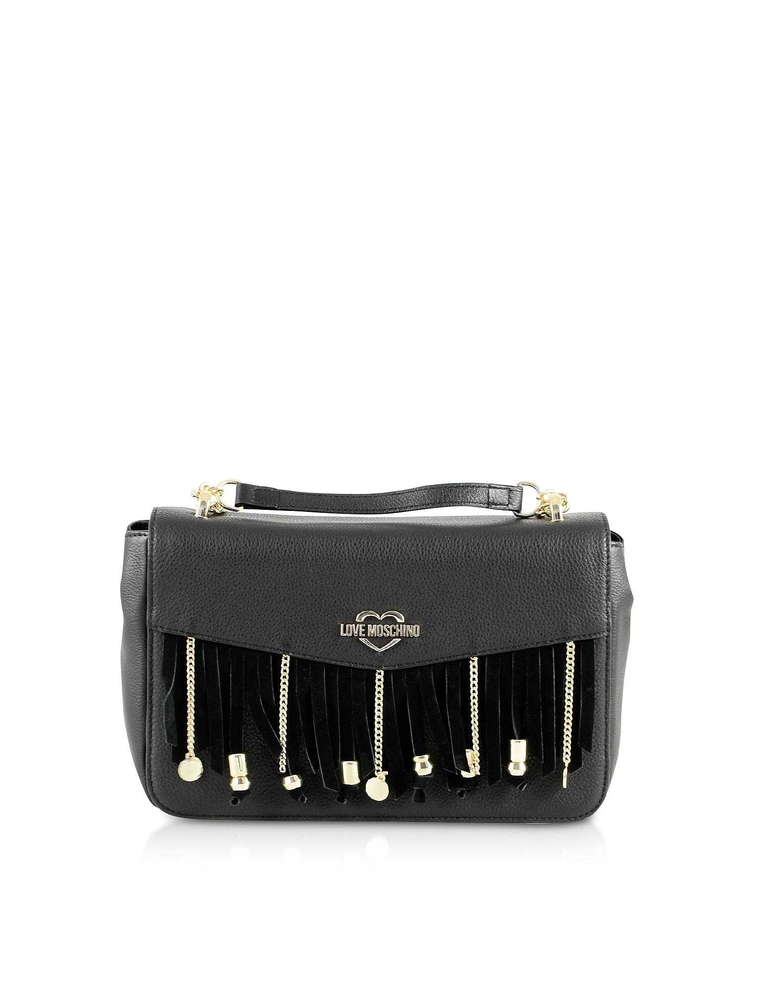 Love Moschino Designer Handbags, Chain and Charms Black Eco-Leather Top-Handle Bag