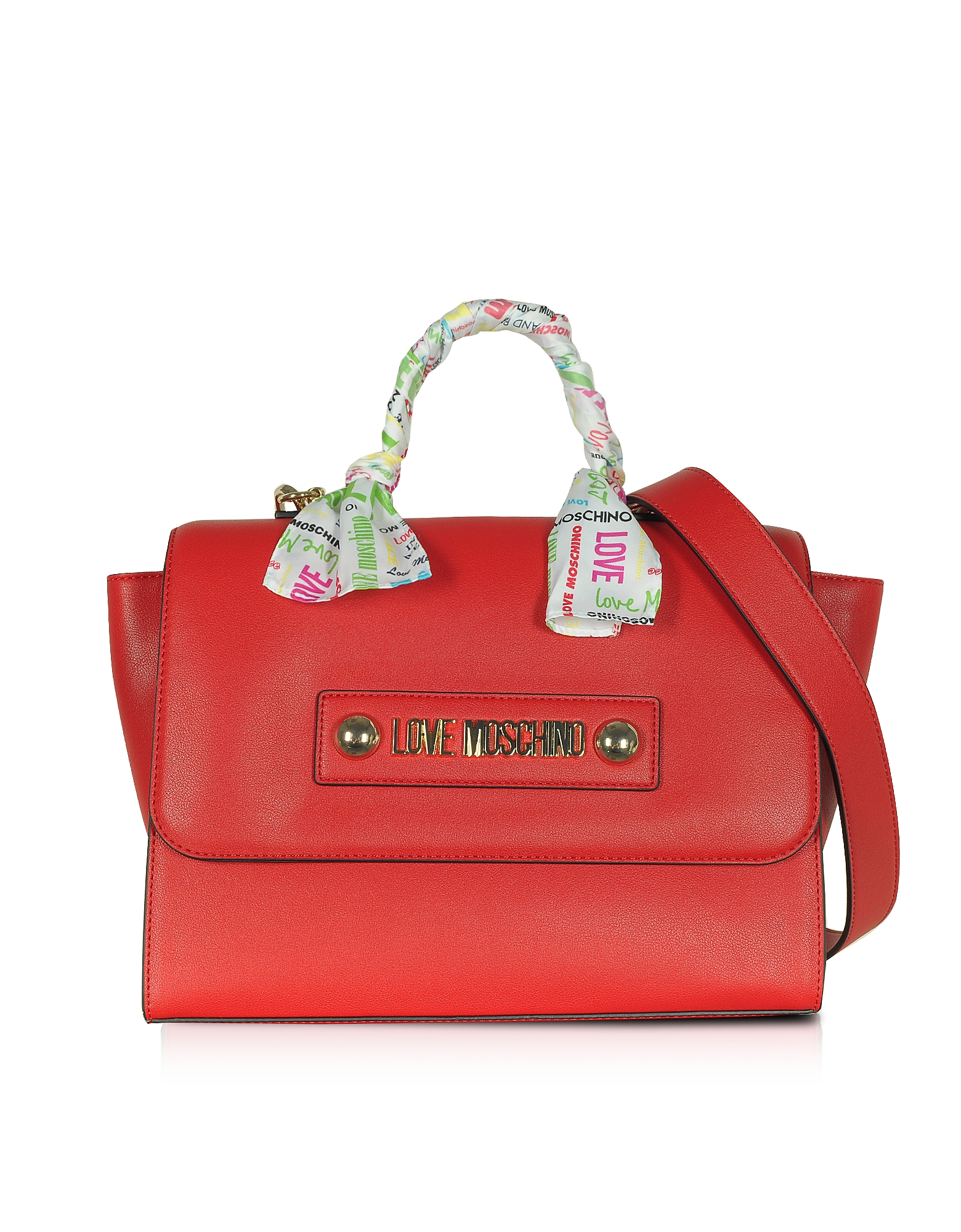 Love Moschino Designer Handbags, Red Eco-Leather Satchel w/Signature Scarf