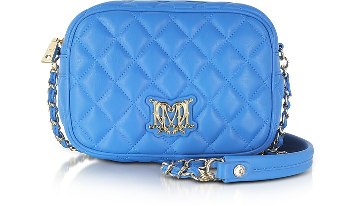 Sky Blue Quilted Eco Leather Shoulder Bag - Moschino