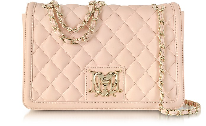 Powder Pink Quilted Eco Leather Shoulder Bag - Moschino