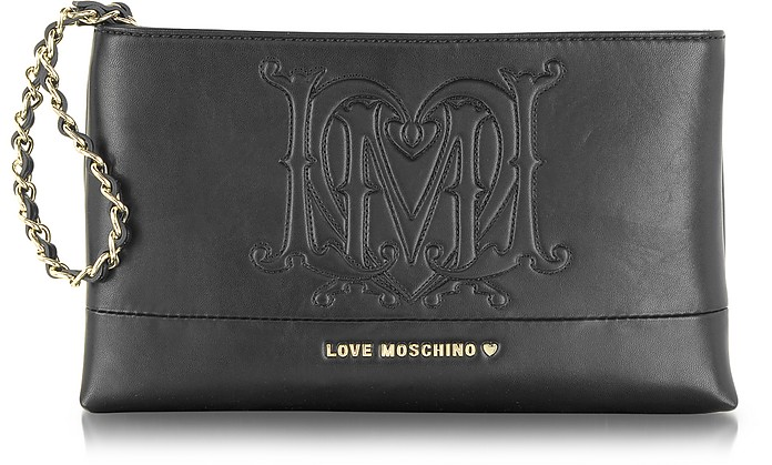 Black Signature Eco Leather Clutch - Moschino
