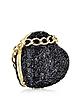 Love Moschino Black Glitter Heart Clutch - Moschino