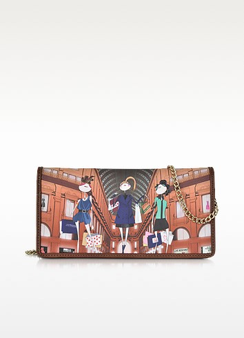 Brown Saffiano Leather Clutch w/Girls Print - Love Moschino