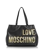 Love Moschino Shopper in Eco Pelle Nera con Logo Oro - love moschino - it.forzieri.com