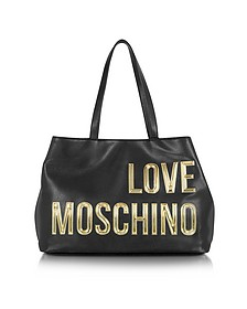 Black Eco Leather Tote Bag w/Signature Logo - Love Moschino