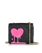 Love Moschino Melting Love Borsa con Tracolla in Eco Pelle Nera con Cuore Rosa e Tracolla Oro - love moschino - it.forzieri.com