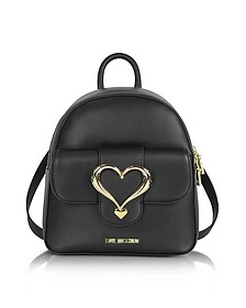 Eco Leather Backpack w/Heart Buckle - Love Moschino
