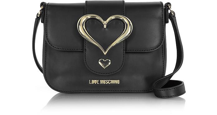 Eco Leather Crossbody Bag w/Heart Buckle - Love Moschino