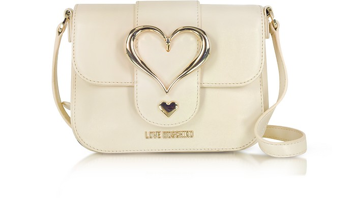 Eco Leather Crossbody Bag w/Heart Buckle - Love Moschino