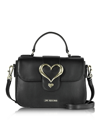 Love Moschino - Eco Leather Satchel Bag w/Heart Buckle