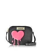 Love Moschino Melting Love Borsa con Tracolla in Eco Pelle Nera con Cuore Rosa - love moschino - it.forzieri.com