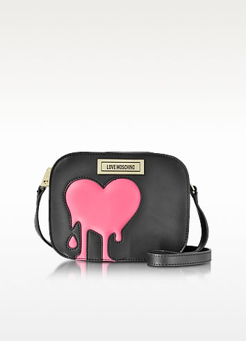 Melting Love Pink & Black Eco Leather Crossbody Bag - Love Moschino