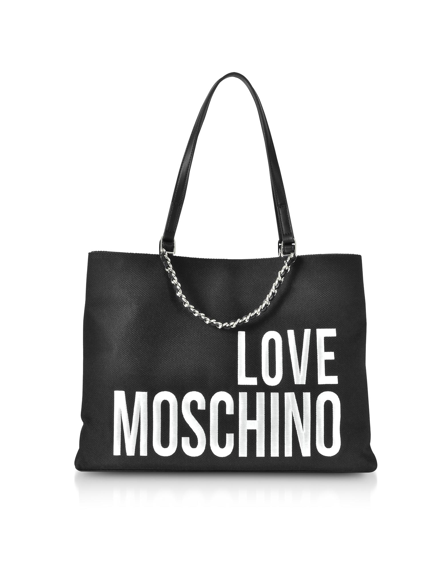 LOVE MOSCHINO Canvas Tote Bag W/ Maxi Logo in Black