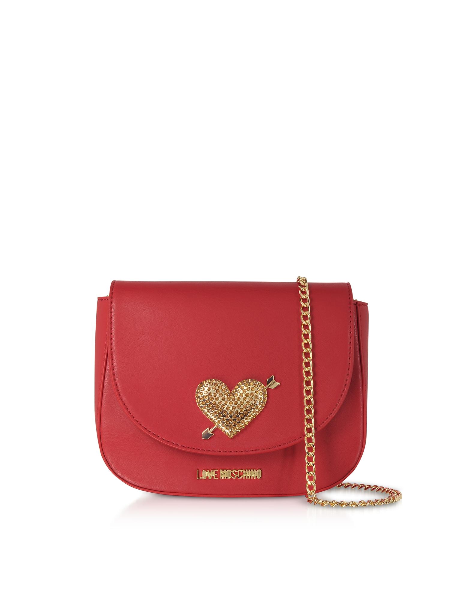 LOVE MOSCHINO Evening Bag Crossbody W/Strass in Red