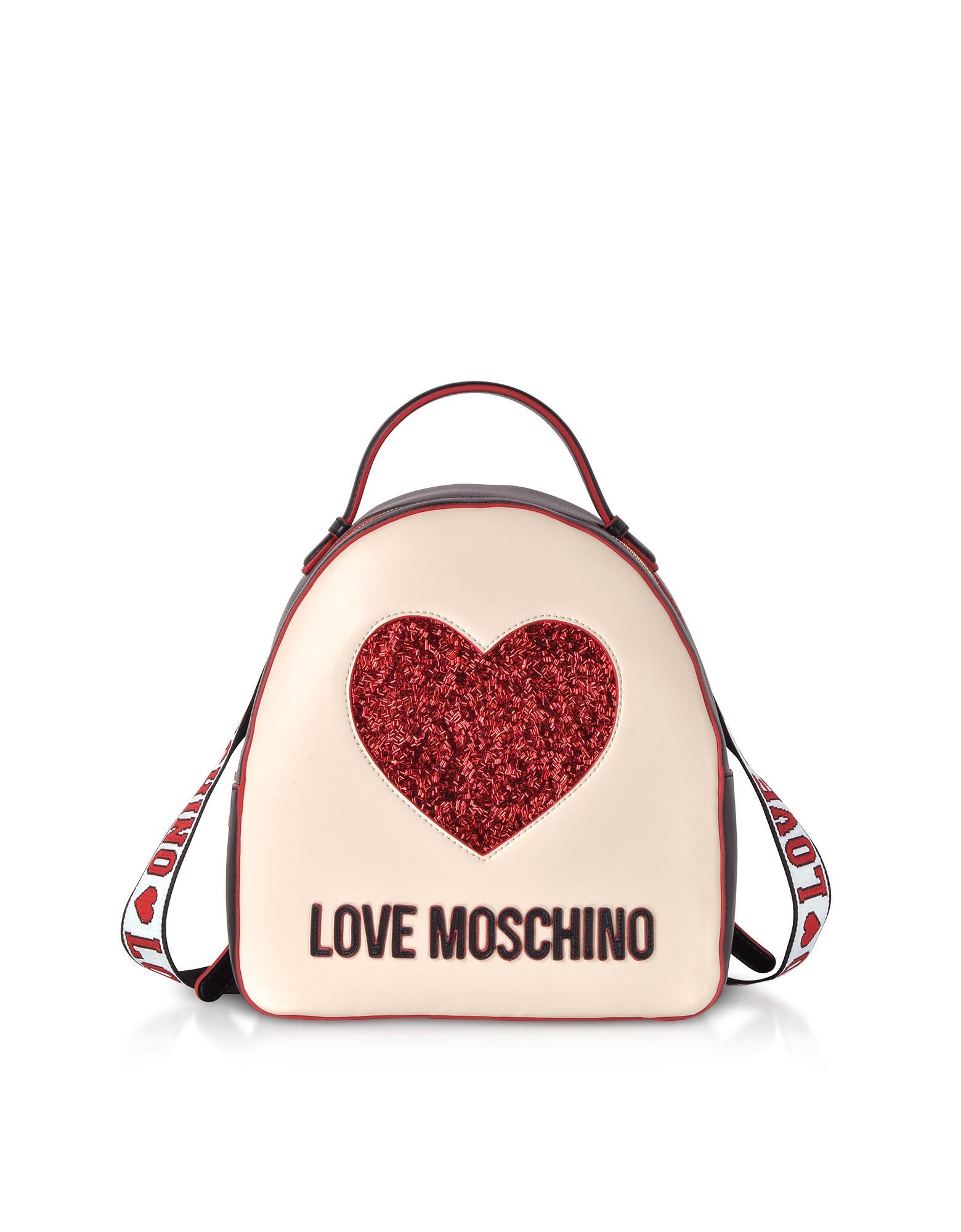 Love Moschino Handbags, Ivory & Black Heart Backpack