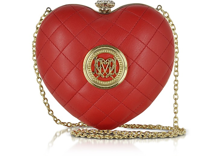 Red Quilted Eco Leather Heart Clutch - Love Moschino