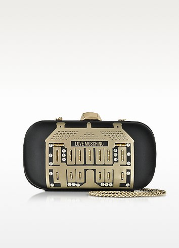 Black Satin Clutch w/Sequins and Beads - Love Moschino