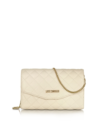 Evening Quilted Ivory Eco Leather Crossbody Bag