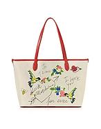Love Moschino Shopper in Canvas Naturale Ricamato e Eco Pelle Rossa - love moschino - it.forzieri.com