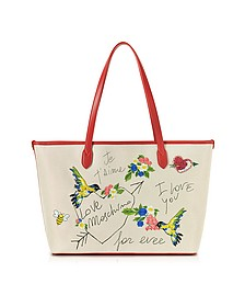 Natural Canvas and Red Eco Leather Tote w/Embroidery I Love You - Love Moschino
