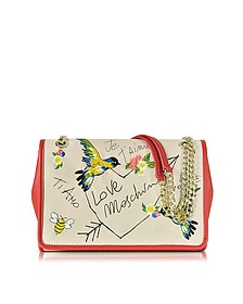 Natural Canvas and Red Eco Leather Shoulder Bag w/Embroidery I Love You - Love Moschino