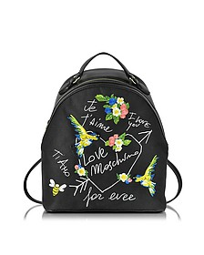 Black Canvas and Black Eco Leather Backpack w/Embroidery I Love You - Love Moschino