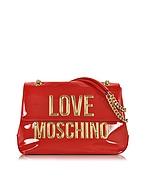Love Moschino Borsa con Tracolla in Eco Vernice Rosso Lipstick con Logo Oro - love moschino - it.forzieri.com