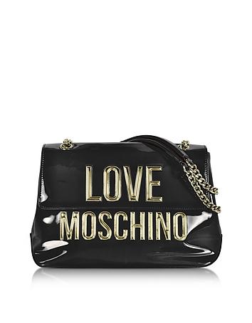 Love Moschino - Black Patent Eco Leather Shoulder Bag w/Signature Logo