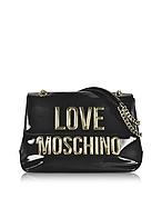 Love Moschino Borsa a Spalla in Eco Vernice Nera con Logo Oro - love moschino - it.forzieri.com