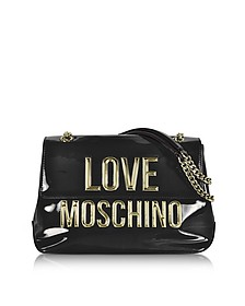 Black Patent Eco Leather Shoulder Bag w/Signature Logo  - Love Moschino