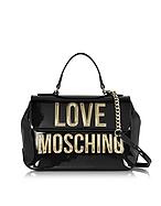 Love Moschino Borsa a Mano in Vernice con Logo Oro e Tracolla - love moschino - it.forzieri.com