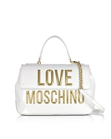 Patent Eco Leather Shoulder Bag w/Signature Logo - Love Moschino
