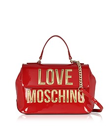 Patent Eco Leather Shoulder Bag w/Signature Logo - Love Moschino