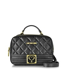 Black Quilted Eco Leather Satchel Bag w/Detachable Shoulder Strap - Love Moschino
