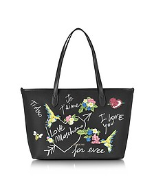 Black Canvas and Eco Leather Tote w/Embroidery I Love You - Love Moschino