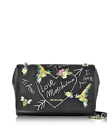 Black Canvas and Eco Leather Shoulder Bag w/Embroidery I Love You - Love Moschino