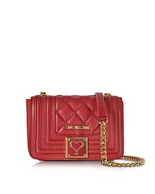 Red Quilted Eco Leather Shoulder Bag - Love Moschino