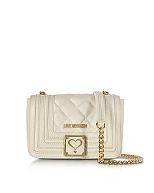 Ivory Quilted Eco Leather Shoulder Bag  - Love Moschino