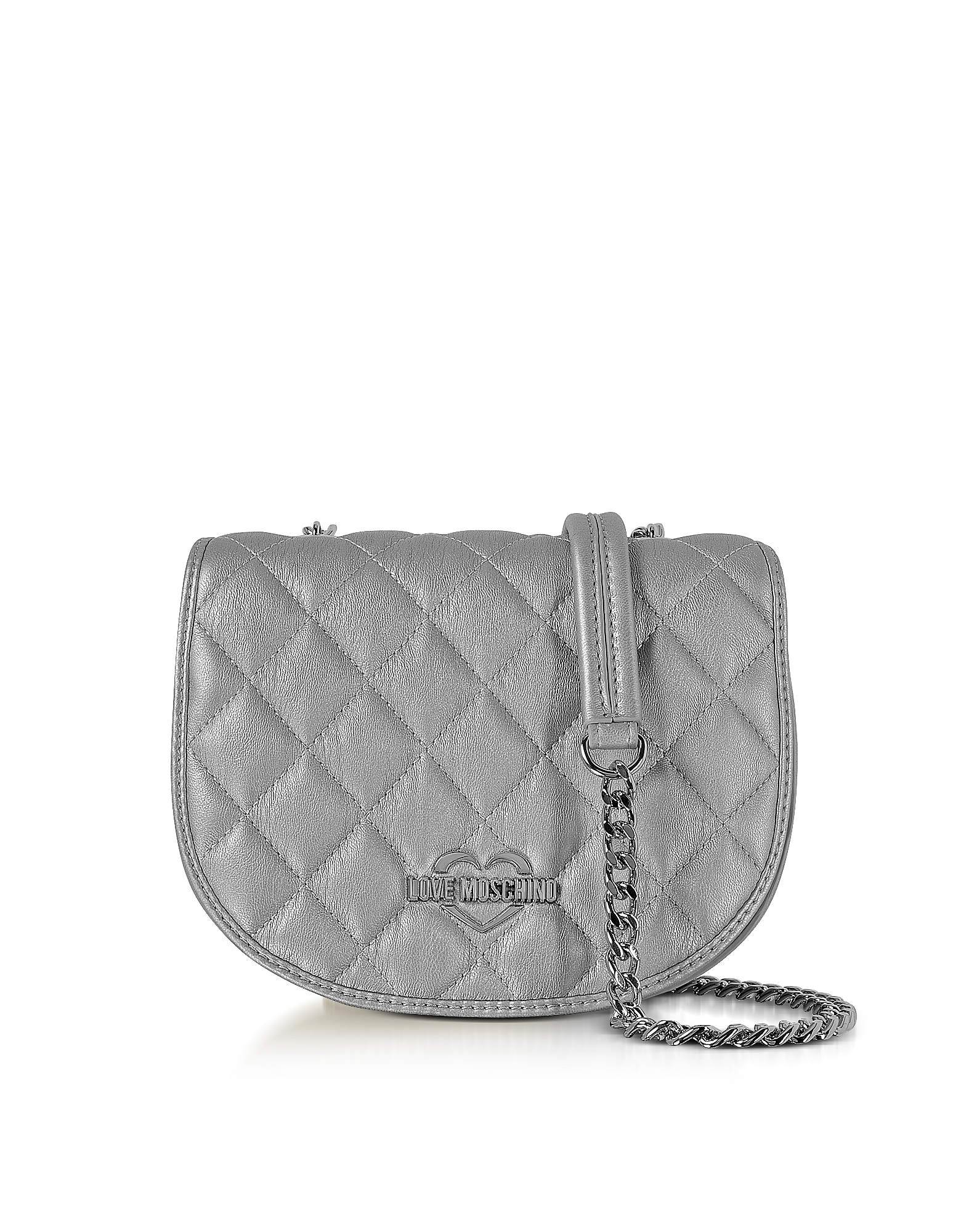 Love Moschino Handbags, Silver Metallic Quilted Eco-Leather Crossbody Bag