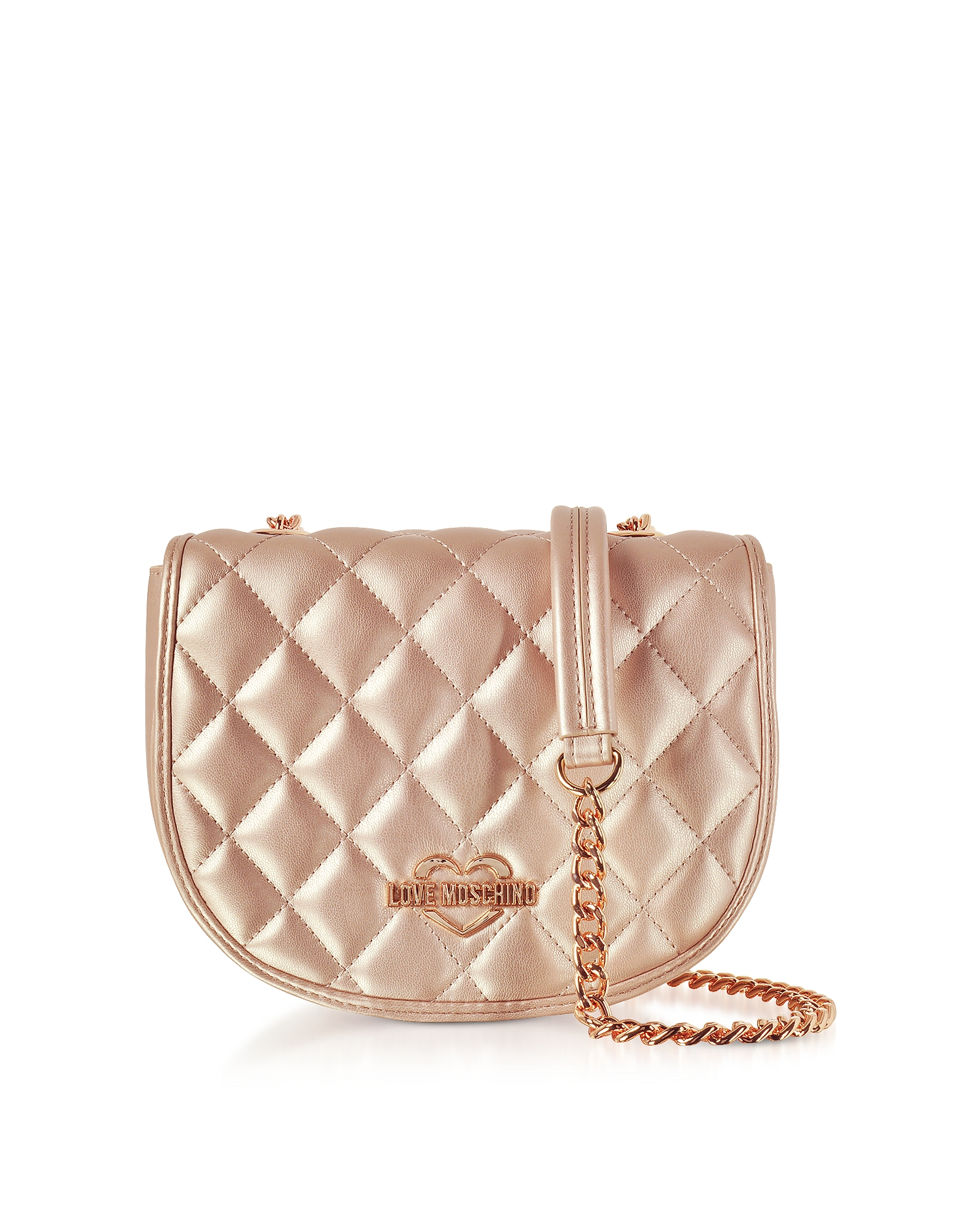 Love Moschino Handbags, Copper Metallic Quilted Eco-Leather Crossbody Bag