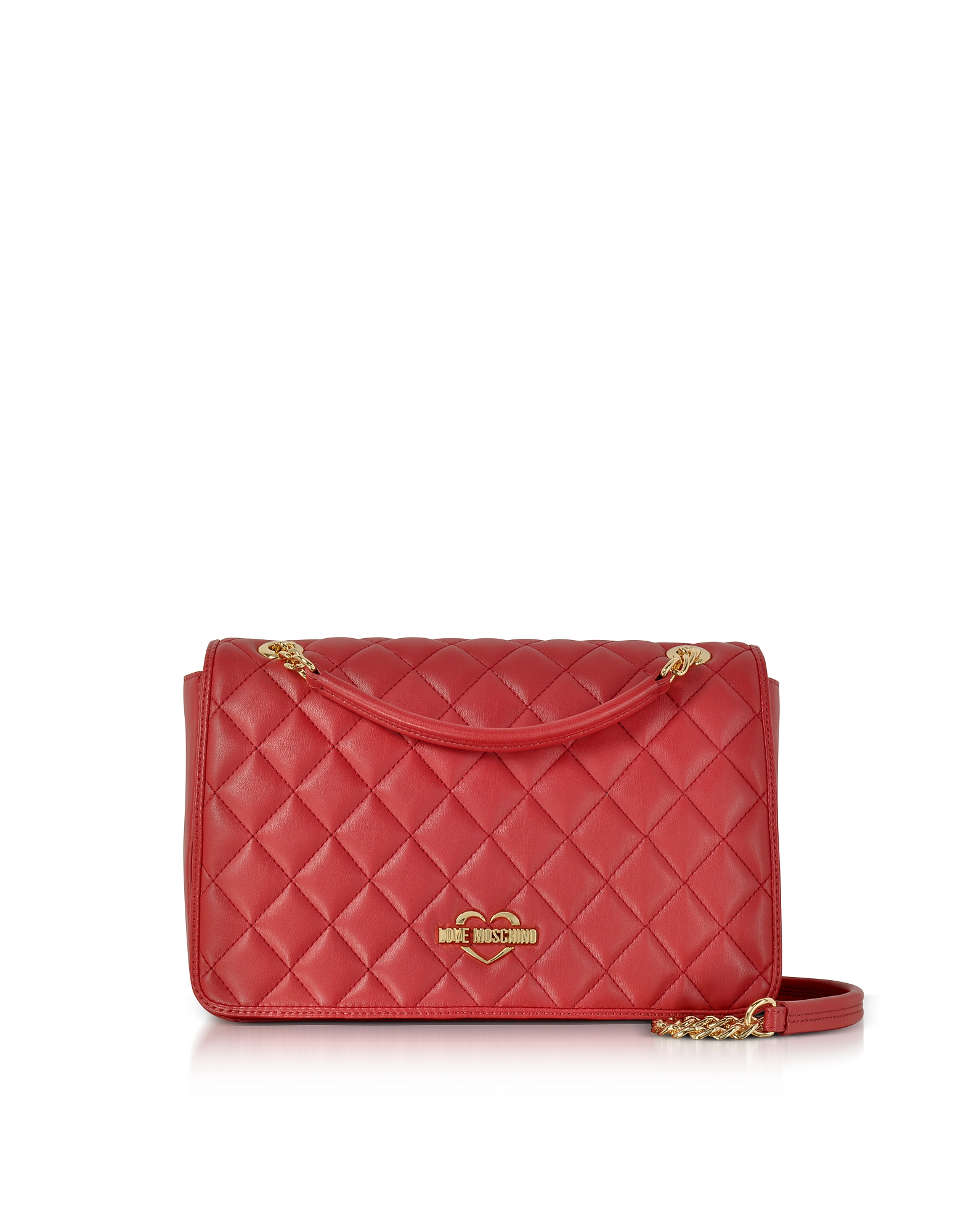 Love Moschino Handbags, Red Superquilted Eco-Leather Shoulder Bag