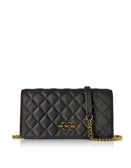 Love Moschino Black Superquilted Eco-Leather Clutch w Shoulder Strap