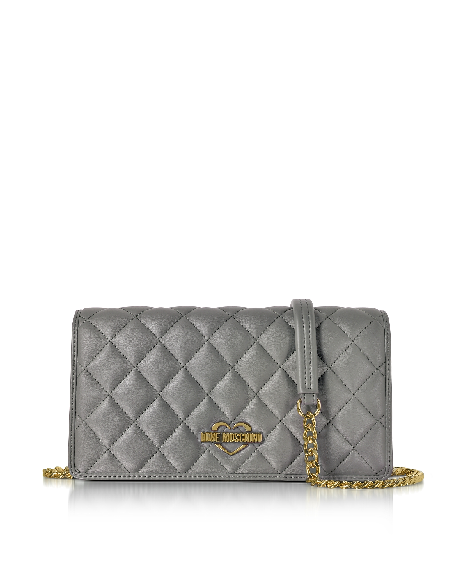 Love Moschino Handbags, Grey Superquilted Eco-Leather Clutch w/Shoulder Strap